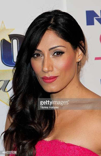 Tehmina Sunny attends the Norby Walters 25th annual night of 100 stars Oscar viewing gala at The Beverly Hilton Hotel on February 22 2015 in Beverly...