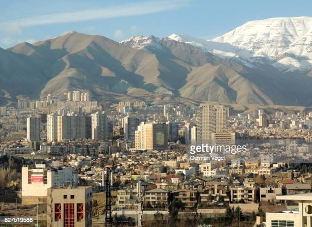 Tehran clean city skyline by Alborz mountains, Iran