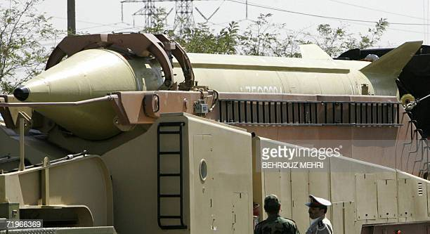 A military truck carries a longrange Iranian Shahab3 Ballistic missile during the annual military parade 22 September 2006 in a suburb of Tehran...