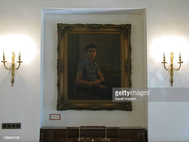 A portrait of Prince Reza Pahlavi hangs on the wall in his residence building in the Niavaran Palace in Tehran 19th February 2009 The Niavaran Palace...