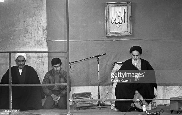 Ayatollah Khomeini addresses the clergymen who have come to Jamaran Mosque to see him 1st March 1982