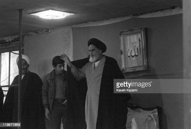 Ayatollah Khomeini waves to the crowd who have come to Jamaran Mosque to see him 1st March 1982