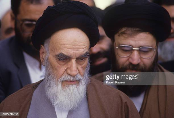 Ayatollah Ruhollah Khomeini the leader and founder of Islamic Republic of Iran looking frail votes for parliament election in his residence Jamaran...