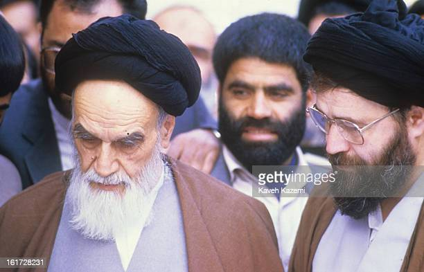 Ayatollah Ruhollah Khomeini the leader and founder of the Islamic Republic of Iran looking frail votes for parliament election in his residence...