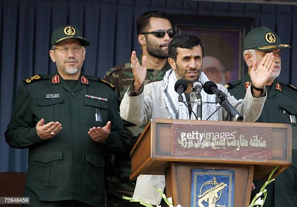 Iranian President Mahmoud Ahmadinejad addresses members of the Islamic volunteer Basij militia affiliated to the elite Revolutionary Guard at the...