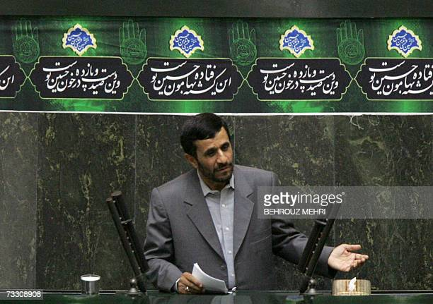 Iranian President Mahmoud Ahmadinejad speaks at the parliament to support his proposed justice minister in Tehran 13 February 2007 The Iranian...