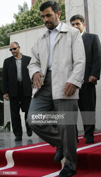 Iranian President Mahmoud Ahmadinejad walks during a welcoming ceremony for his Nicaraguan counterpart Daniel Ortega during a welcoming ceremony at...