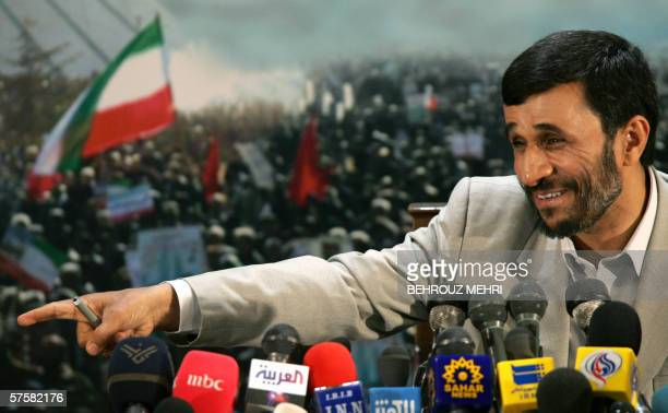 Iranian President Mahmud Ahmadinejad points to a journalist during a press conference in Tehran 24 April 2006 Ahmadinejad dismissed a UN Security...