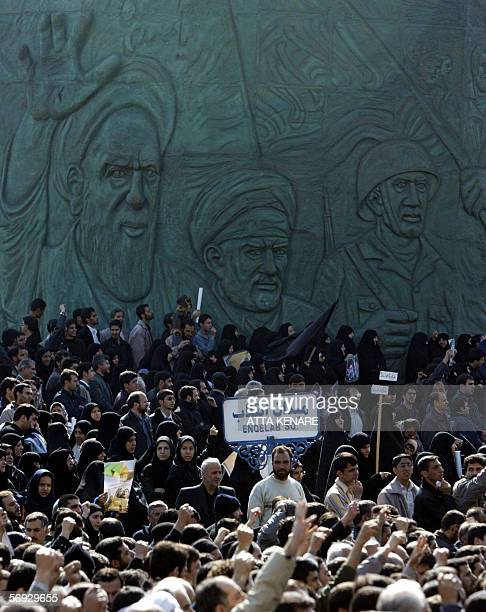 Iranians march after the Friday prayer to condemn the bombing of the 1000yearold Imam Ali alHadi mausoleum in Samarra in Iraq 24 February 2006 in...