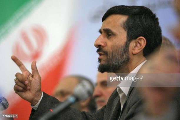 Iran's hardline President Mahmoud Ahmadinejad addresses Iranian ambassadors based abroad during a meeting in Tehran, 13 March 2006. Ahmadinejad said...