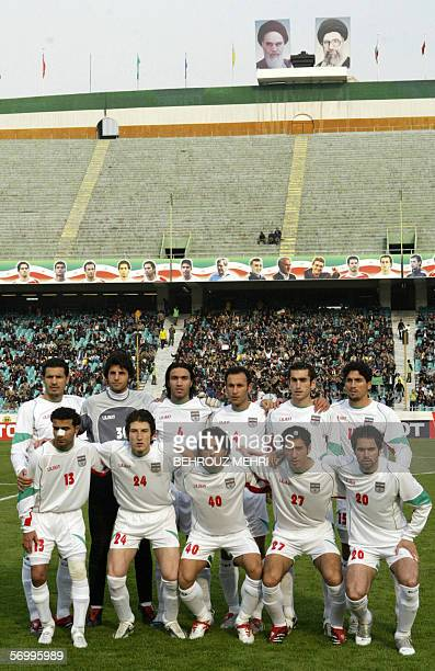 Iran's national football team at Tehran's Azadi stadium 22 February 2006 from L to R Ali Daei Vahid Talebloo Javad Nekonam Yahya Golmohammadi Mojtaba...