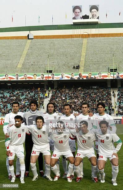 Iran's national football team at Tehran's Azadi stadium 22 February 2006 from L to R Ali Daei Vahid Talebloo Javad Nekonam Yahya Golmohammadi Mojtaba...