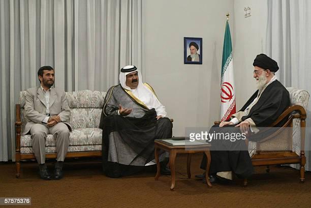 Iran's supreme leader, Ayatollah Ali khamenei , and President Mahmoud Ahmadinejad meet with Qatari Emir Sheikh Hamad bin Khalifa al-Thani in Tehran,...