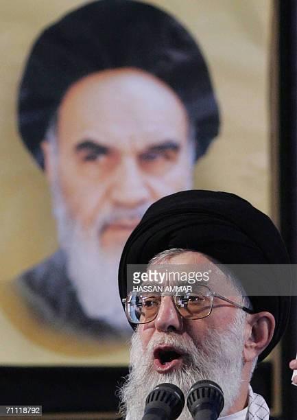 Iran's supreme leader Ayatollah Ali Khamenei delivers a speech marking the 17th anniversary of the death of Iran's Islamic revolutionary leader...