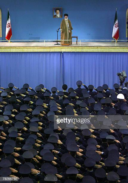 Iran's supreme leader Ayatollah Ali Khamenei speaks with the Iranian Air Force commanders in Tehran 08 February 2007 Khamanei vowed today the Islamic...