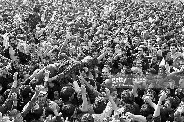 Thousands of people gathere at city's congregational prayer site to mourn Ayatollah Khomeini's death Tehran 4th June 1989 Many fainted due to the...