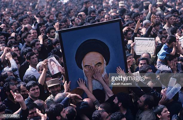 Thousands of people mourn Ayatollah Khomeini's passing away at city's congregational prayer site 5th June 1989