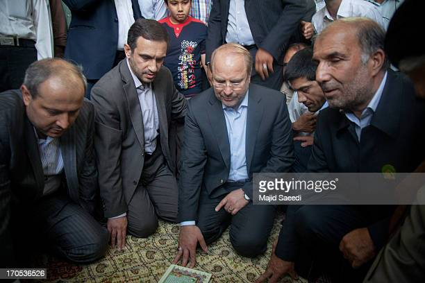Tehran Mayor and presidential candidate MohammadBagher Qalibaf visits the shrine of Shah Abdul Azim before casting his vote at Shah Abdolazim...