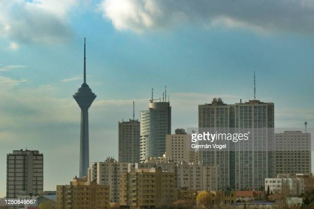 tehran modern city skyline under clouds, iran - tehran stock pictures, royalty-free photos & images