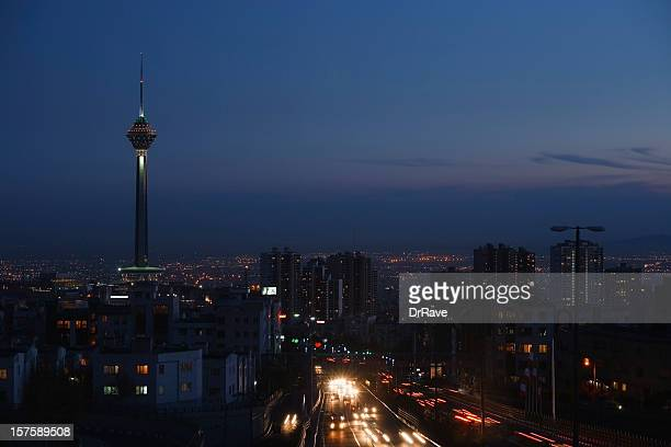 tehran skyline and milad tower - tehran stock pictures, royalty-free photos & images