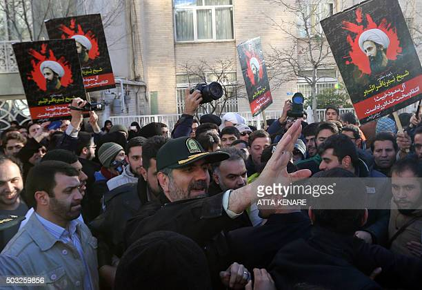 Tehran's police chief Hossein Sajedinia asks protesters to end their rally against the execution of prominent Shiite Muslim cleric Nimr alNimr by...
