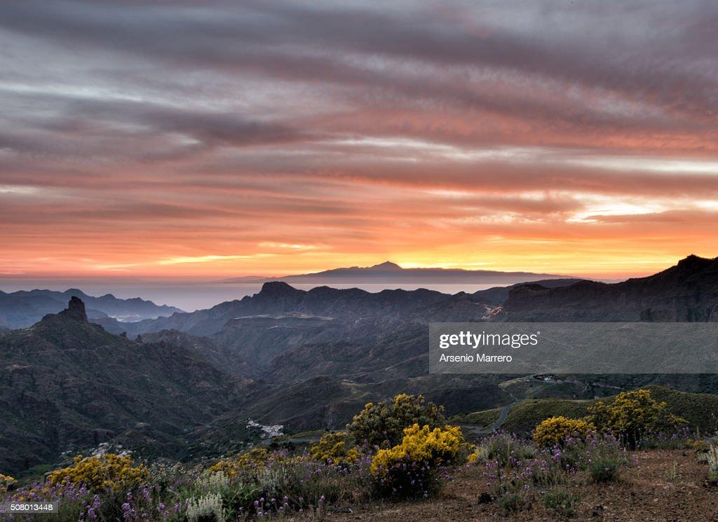 Teide from Gran Canaria Island in Tejeda. : Stock Photo