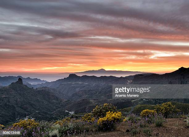 teide from gran canaria island in tejeda. - tejeda stock pictures, royalty-free photos & images
