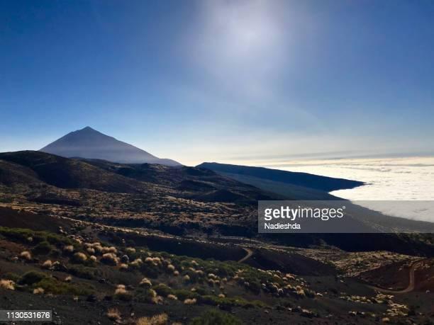teide volcano - patrimonio de la humanidad por la unesco stock pictures, royalty-free photos & images