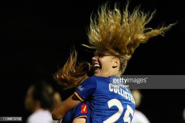 Teigan Collister of the Newcastle Jets celebrates a goal during the round 14 W-League match between the Newcastle Jets and the Western Sydney...