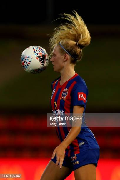 Teigan Collister of the Newcastle Jets controls the ball during the round 11 W-League match between the Newcastle Jets and the Perth Glory at...