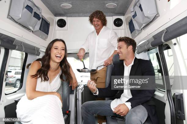 Teigan Nash Nick Cummins and Lincoln Lewis relax in a Juicy campervan at the launch of Aussie News Today as part of Tourism Australia's new youth...