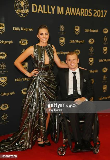 Teigan Power and Alex McKinnon arrive ahead of the Dally M Awards at The Star on September 27 2017 in Sydney Australia