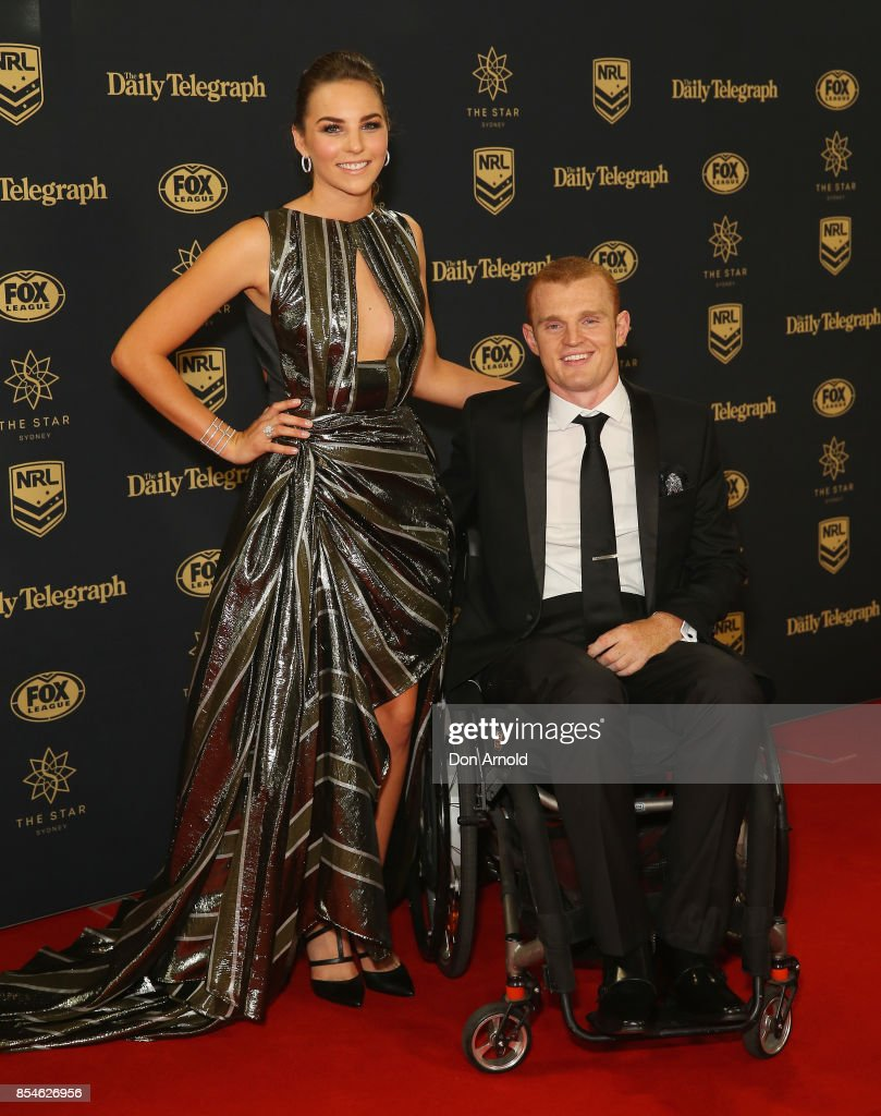 Teigan Power and Alex McKinnon arrives ahead of the Dally M Awards at The Star on September 27, 2017 in Sydney, Australia.
