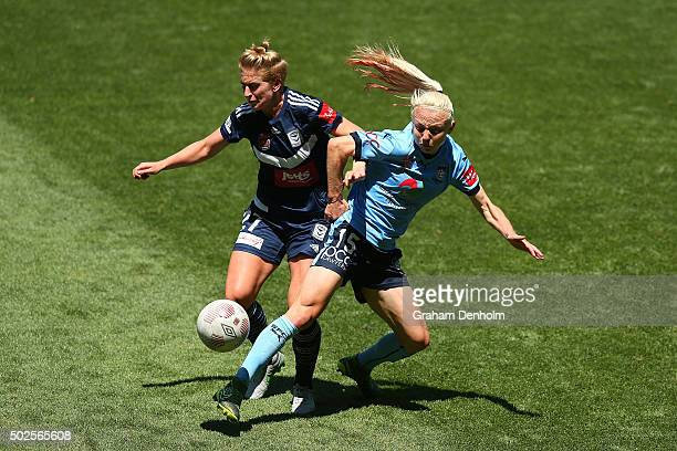 Teigen Allen of Sydney FC and Natasha Dowie of Melbourne Victory contest the ball during the round 11 W-League match between Melbourne Victory and...