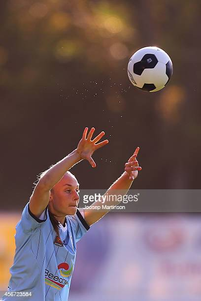 Teigen Allen of Sydney FC takes a thrown in during the round four WLeague match between Sydney and Melbourne at Lambert Park on October 6 2014 in...