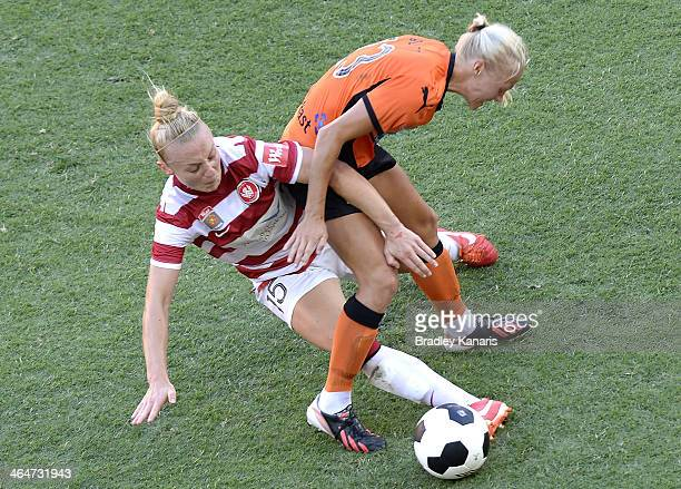 Teigen Allen of the Wanderers is penalised for this tackle on Tameka Butt of the Roar during the round 10 W-League match between the Brisbane Roar...
