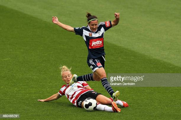 Teigen Allen of the Wanderers tackles Lisa De Vanna of the Victory during the round seven WLeague match between the Melbourne Victory and the Western...