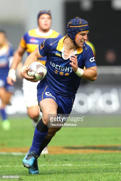 Teihorangi Walden of Otago makes a break during the round eight Mitre 10 cup match between Otago and Bay of Plenty at Forsyth Barr Stadium on October...