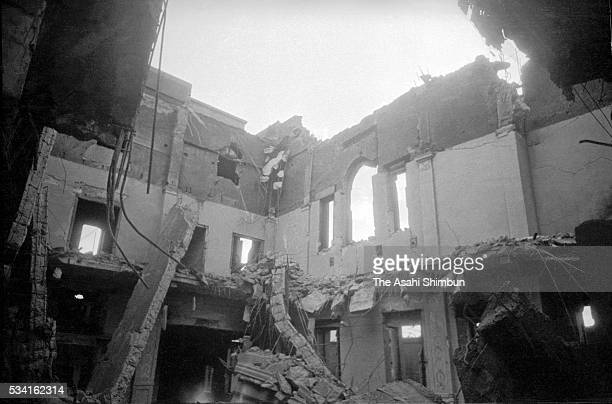 Teikoku Bank Hiroshima Branch is destroyed by the atomic bomb in August, 1945 in Hiroshima, Japan. The world's first atomic bomb was dropped on...