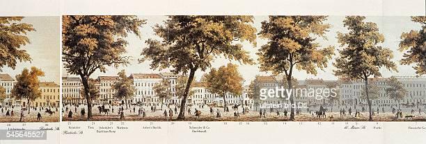 Teilansicht der 1849 herausgegebenen2 Lindenrolle ein Panorama derStrasse Unter den Linden