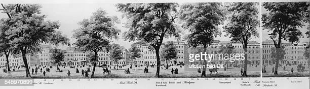 Teilansicht der 1849herausgegebenen 2 `Lindenrolle'die ein Panorama der StrasseUnter den Linden darstellt
