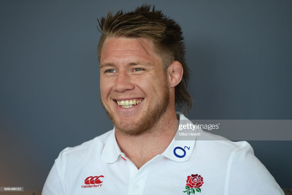 Teimana Harrison of England talks to journalists during an England RFU media briefing at Brighton Marina on May 17, 2018 in Brighton, England.