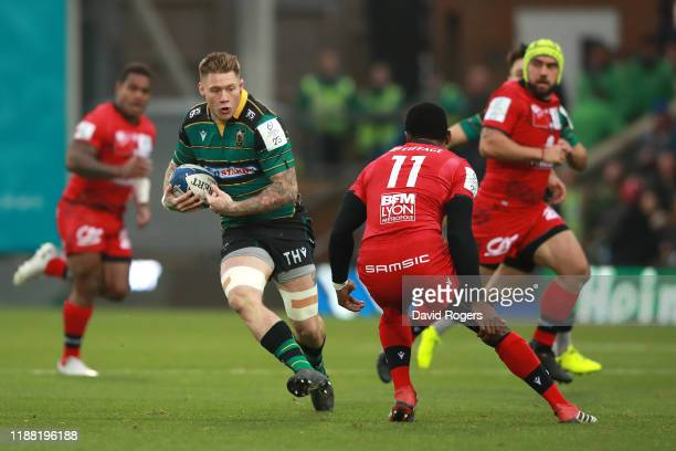Teimana Harrison of Northampton charges upfield during the Heineken Champions Cup Round 1 match between Northampton Saints and Lyon OU at Franklin's...