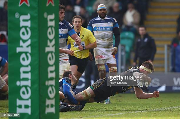 Teimana Harrison of Northampton goes over to score a try during the European Rugby Champions Cup match between Northampton Saints and Castres...