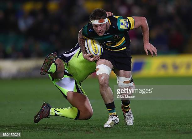 Teimana Harrison of Northampton Saints in action during the Aviva Premiership match between Northampton Saints and Sale Sharks at Franklin's Gardens...