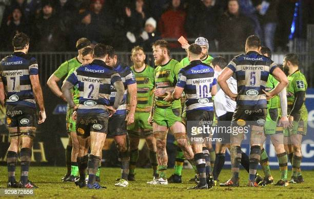 Teimana Harrison of Northampton Saints is shown a red card during the AngloWelsh Cup Semi Final match between Bath and Northampton Saints at...