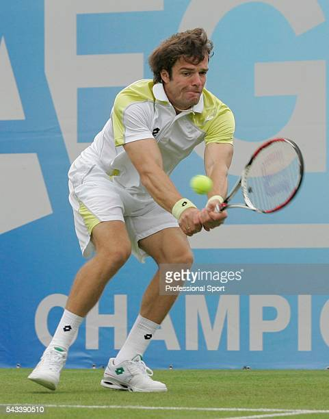 Teimuraz Gabashvili of Russia in action during his mens singles match against Ivo Karlovic of Croatia on Day 2 of the AEGON Championship at Queens...