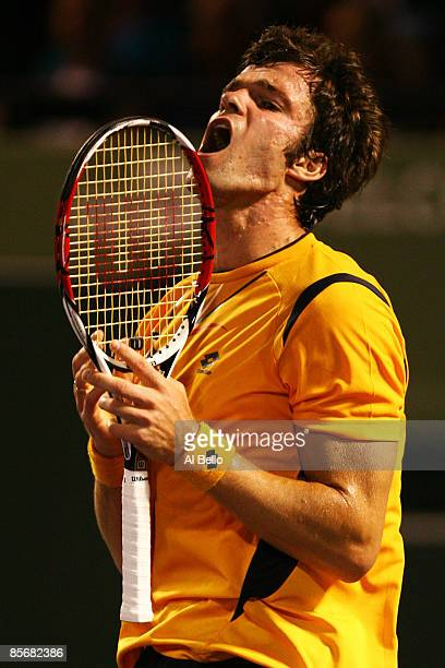 Teimuraz Gabashvili of Russia reacts against Rafael Nadal of Spain during day six of the Sony Ericsson Open at the Crandon Park Tennis Center on...