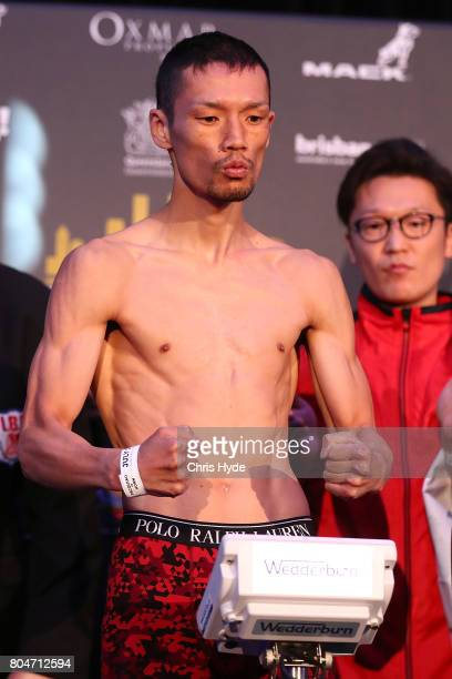 Teiru Kinoshita of Japan during the weigh in ahead of his title fight against Jerwin Ancajas on the undercard of Jeff Horn and Manny Pacquiao at...