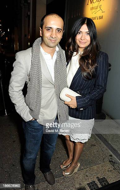 Tej Lalvani and Tara Lalvani attend a private dinner at Nobu Berkeley on October 28 2013 in London England